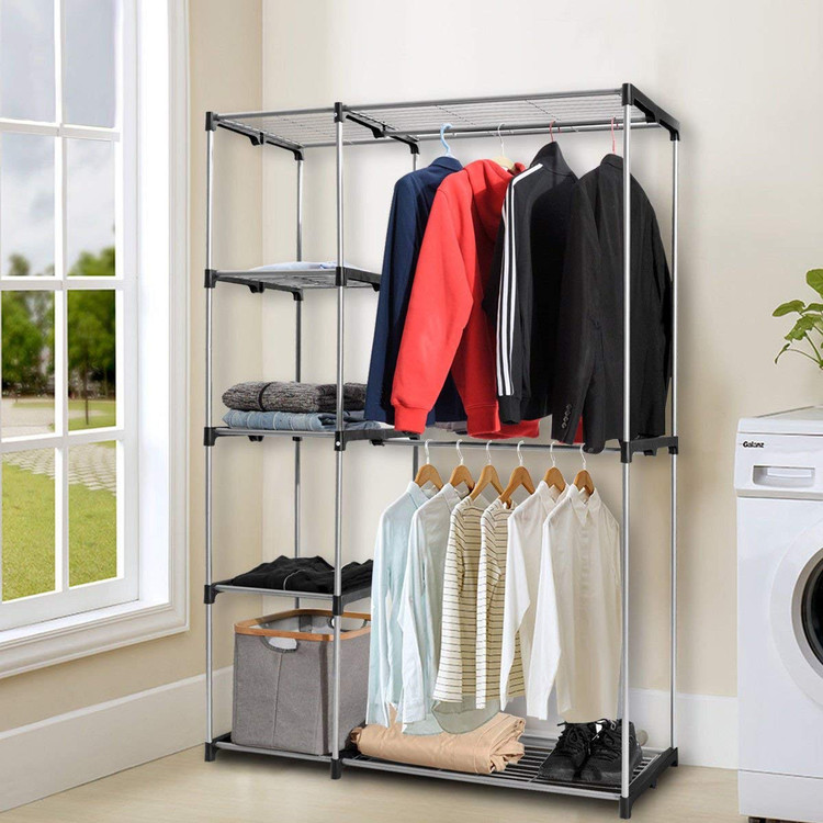 New Arrivals Clothes Rack Double Rod Closet Wardrobe Free Standing Garment  Rack Clothe Storage Organizer