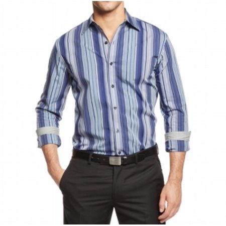 Tasso Elba NEW Blue Mens Size Large 16 1/2 Vertical Striped Dress Shirt $39 Tasso Elba Mens Single