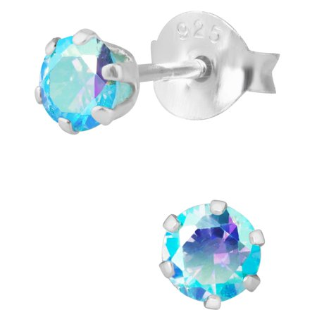 Hypoallergenic Sterling Silver Aurora Borealis Aqua Crystal Round Stud Earrings for Kids (Nickel Free)