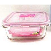 Medium Square Glass Meal Prep Containers   Airtight Glass Food Storage Containers with Lids   BPA-FREE Leakproof Bento Box Glass Lunch Box   Freezer, Microwave Safe (Pink, 24 oz)