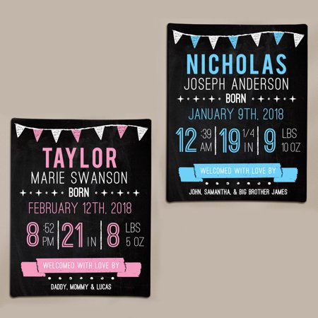 Personalized Birth Information Chalkboard Art Canvas- available in Pink or Blue and 2 Sizes