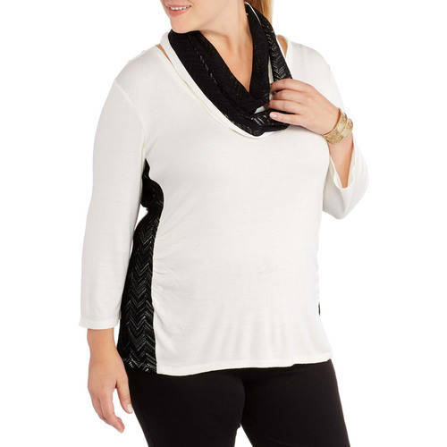 Women's Plus-Size V-Neck Side Ruched Crochet Lace Top plus BONUS Scarf