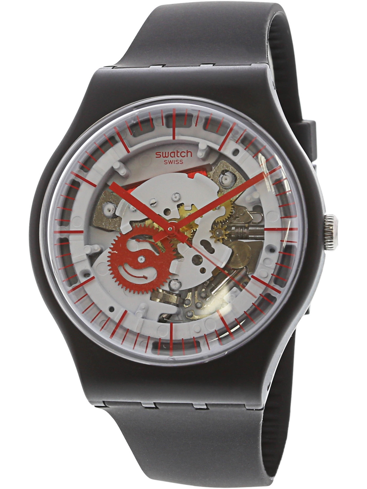 Swatch Casual Siliblack Silicone Watch for Men and Women.