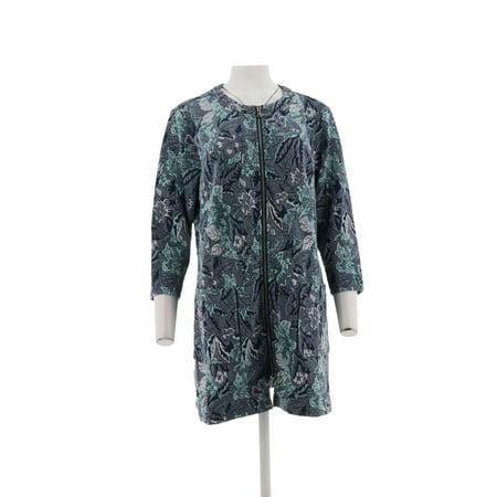 Isaac Mizrahi Floral Knit Jacquard 3/4 Slv Coat (Jacquard Knit Jacket)