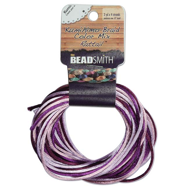 Satin Rattail Braiding Cord 1mm Lilac Purple Mix 4 Colors - 3 Yds Each