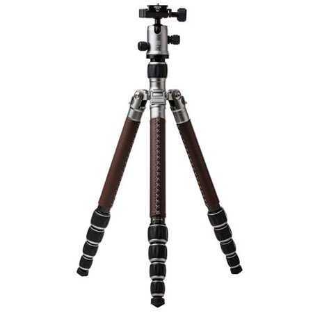 MeFOTO RoadTrip Classic Leather Edition 5-Section Carbon Fiber Travel Tripod with Q1 Triple-Action Ball Head, Extends to 5.1', Holds 17.6 Lbs,