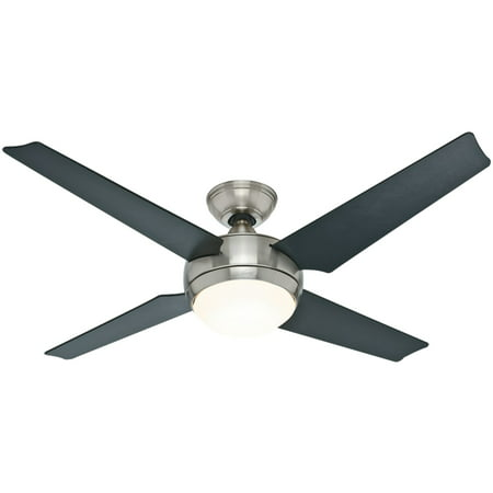 Hunter 52 Sonic Brushed Nickel Ceiling Fan With Light Handheld Remote