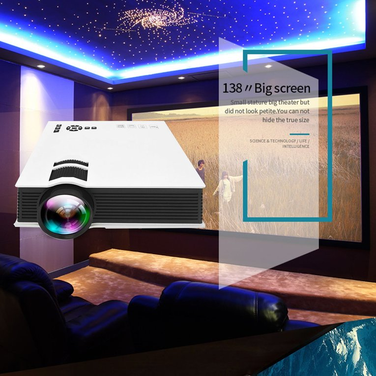 White UC46 1200LM Home Theater LED Projector Portable Siz...