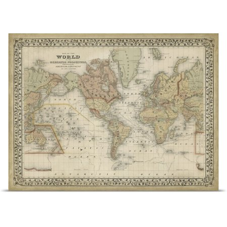 Great Big Canvas Rolled Poster Print Entitled Mitchell S World Map