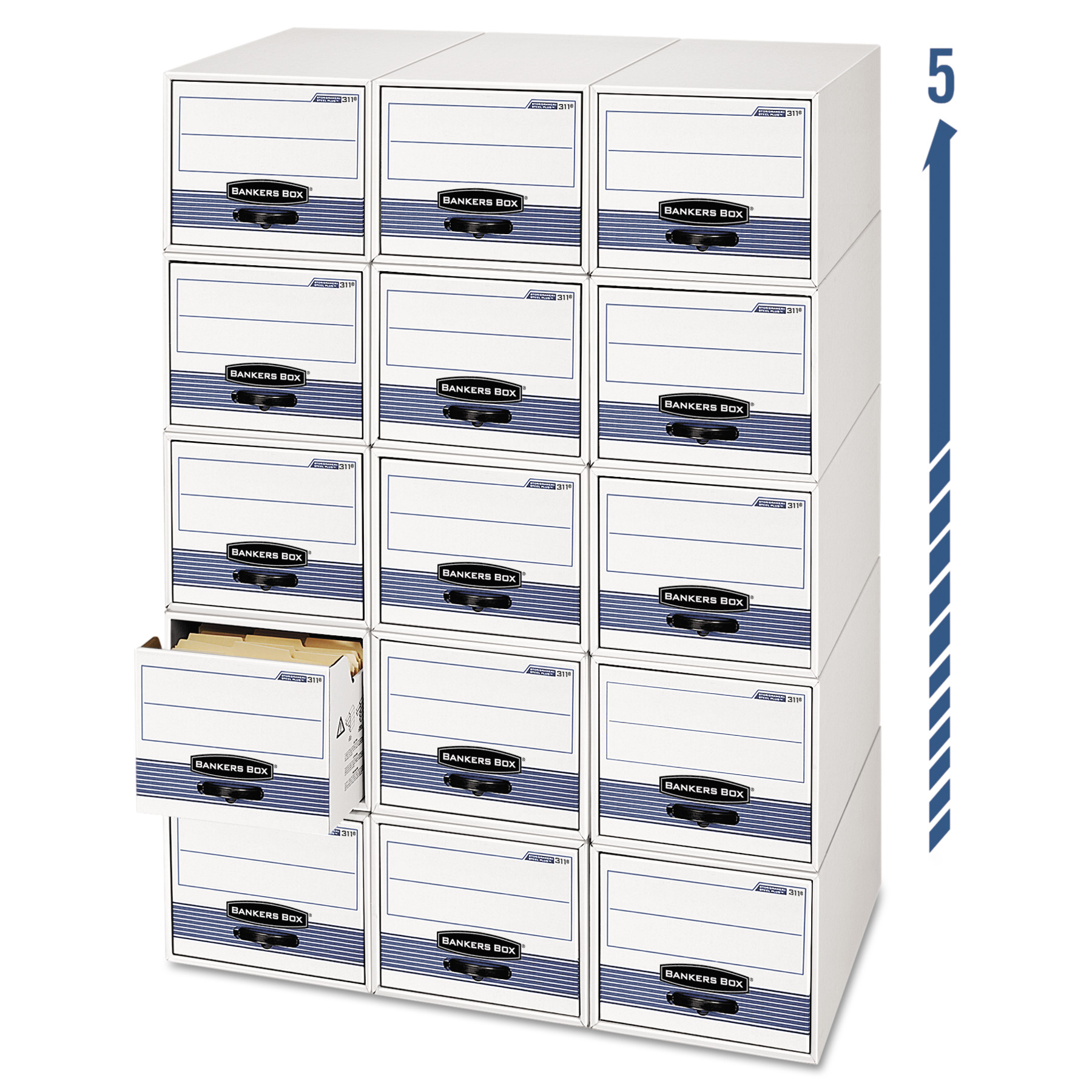 Bankers Box Storage/Drawer Steel Plus Storage Box, Legal, White/Blue, 6/Carton -FEL00312