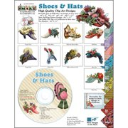 ScrapSMART Shoes and Hats 1860s Collection Clip-Art CD-ROM, Vintage Images for Scrapbook, Craft, Sewing