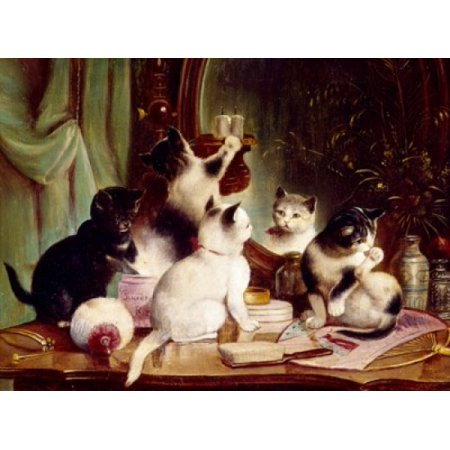 Art Deco Vanity Table - Kittens on the Vanity Table Hartung  J (20th CGerman) Stretched Canvas - J Hartung (18 x 24)