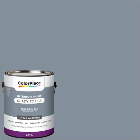 ColorPlace Pre Mixed Ready To Use, Interior Paint, Blue Grey Sky, Satin Finish, 1 Gallon ()