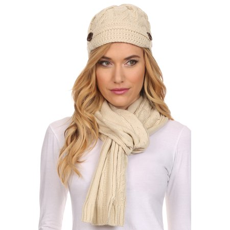 Palestinian Scarf - Sakkas Womens 2-piece Cable Knitted Visor Beanie Scarf and Hat Set with Button - Beige/One Size
