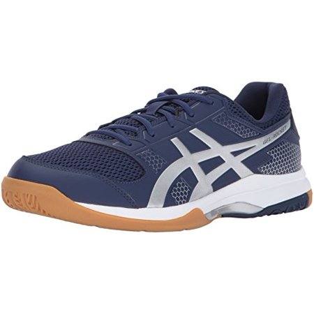 ASICS Men's Gel-Rocket 8 Volleyball-Shoes, Indigo Blue/Silver/White, 7  Medium US
