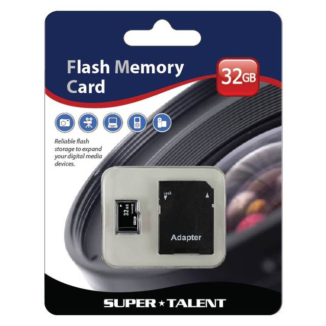 Super Talent 32GB Micro SDHC Memory Card w/ Adapter, Retail MSD32ST10R