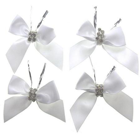 pre-tied satin bows with rhinestone, 3-inch, 4-piece, - Rhinestone Heart Bows