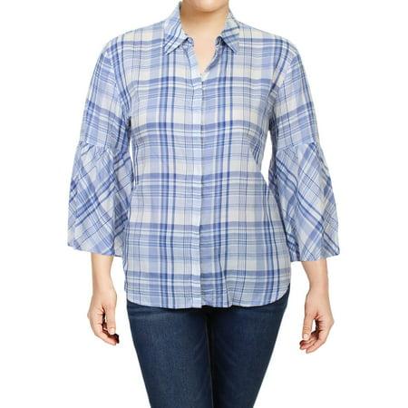 Lauren Ralph Lauren Womens Otrizewa Plaid Bell Sleeves Button-Down Top