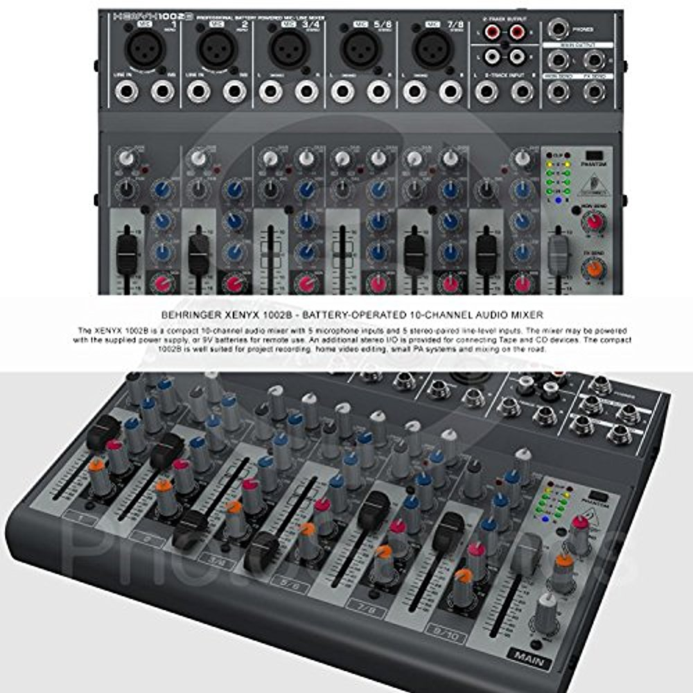 Behringer Xenyx 1002b 10 Channel Audio Mixer And Accessory Bundle 3 With 12x Cables Closed Back Headphones Home Recording For Musicians Dummies