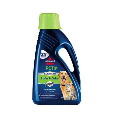 BISSELL 2X Pet Stain and Odor Advanced - Full Size Carpet Cleaning Formula, 62 oz, (Best Carpet Stain And Odor Remover)