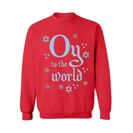 Awkward Styles Oy To The World Sweatshirt for Hanukkah Funny Holiday Gifts Jewish Sweater for Women and Men Ugly Hanukkah Sweater Jew Sweater Chanukkah Sweater Gifts for Jews Jewish Holidays (Funny Ugly Sweaters)