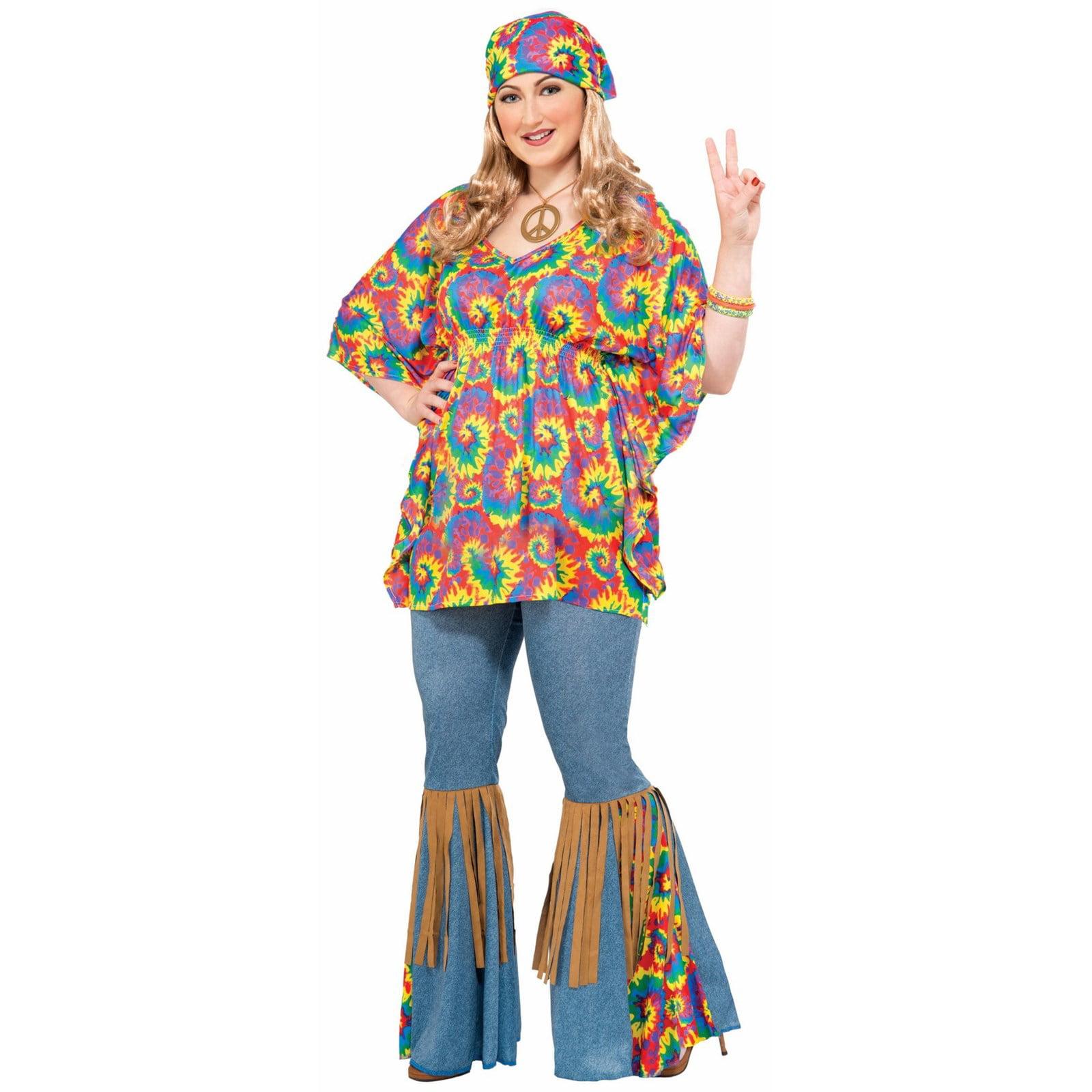 Hippie Girl Halloween Costume.Halloween Hippie Chick Plus Size Adult Costume