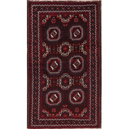 BLACK FRIDAY DEAL Geometric Balouch Afghan Hand-Knotted Oriental Area Rug Kitchen Carpet 3x6