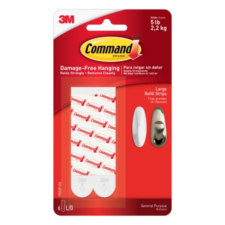 Command Refill Strips, White, Large, 6 -