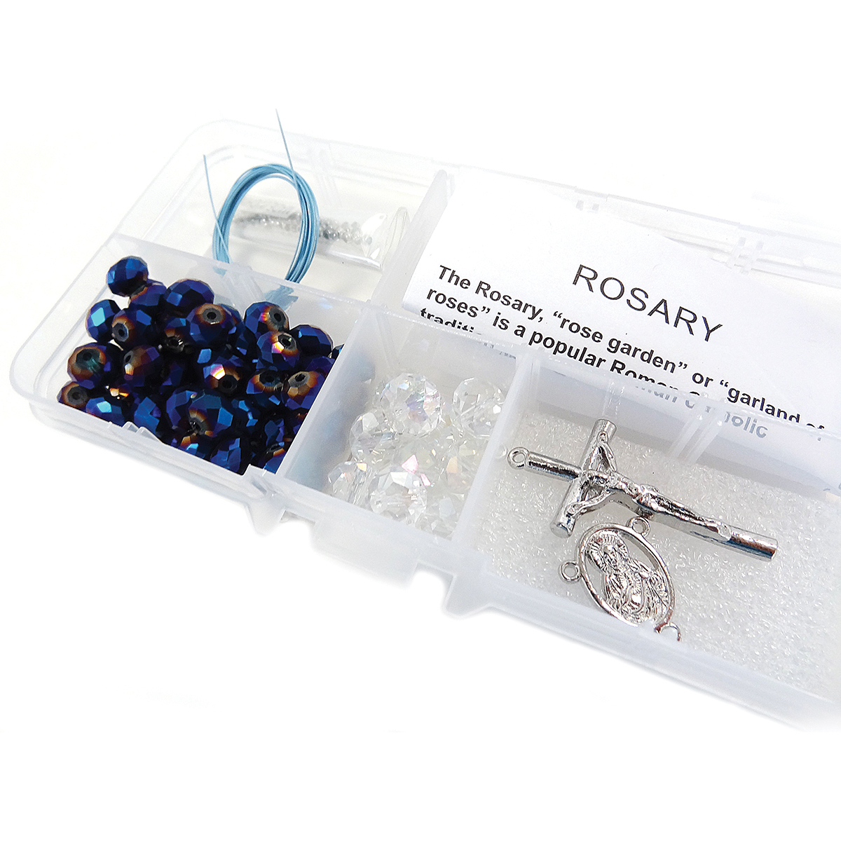 Crystal & Pearl Rosary Bead Kit-AB Blue Crystals & Faceted Rondelles