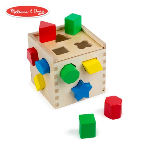 Melissa & Doug Shape Sorting Cube Classic Wooden Toy (Developmental Toy, Easy-to-Grip Shapes, Sturdy Wooden Construction, 12 (Wooden Toys For 1 2 Year Olds)