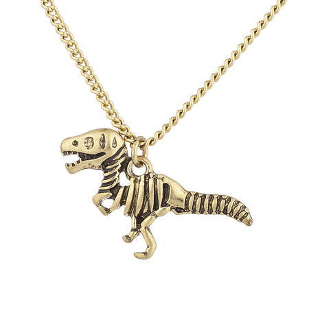 Lux Accessories Burnish Gold Tone Skeleton Dinosaur Pendant Novelty - Novelty Necklaces