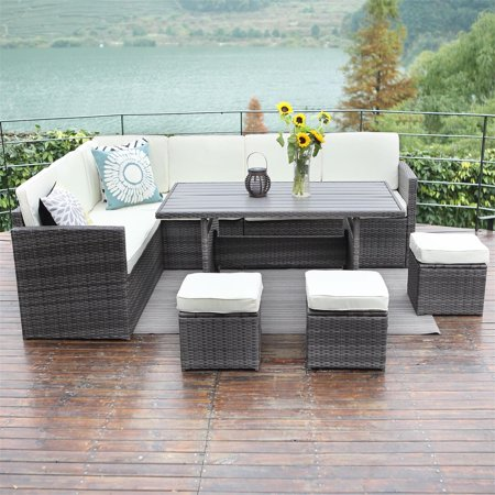 10PCS Patio Sectional Furniture Set,Wisteria Lane Outdoor Conversation Set All-Weather Wicker Sofa Set with Storage Table,Grey ()