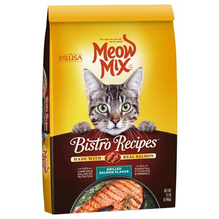 Mix Grill - Meow Mix Bistro Recipes Grilled Salmon Flavor Dry Cat Food, 12 lb