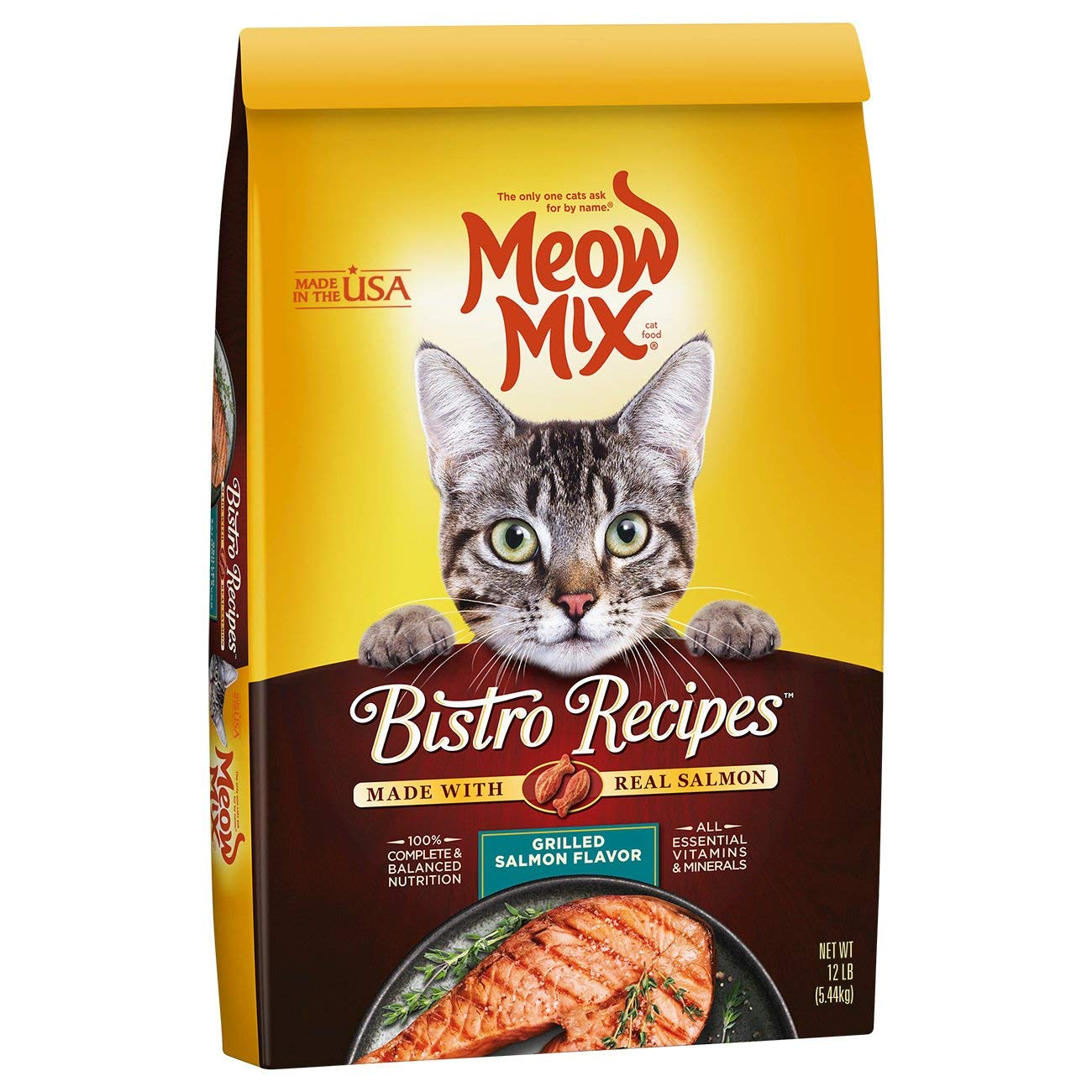 Meow Mix Bistro Recipes Grilled Salmon Flavor Dry Cat Food, 12 lb