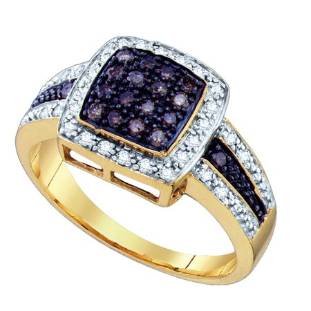 10kt Yellow Gold Womens Round Cognac-brown Colored Diamond Square Cluster Ring 1/2 Cttw