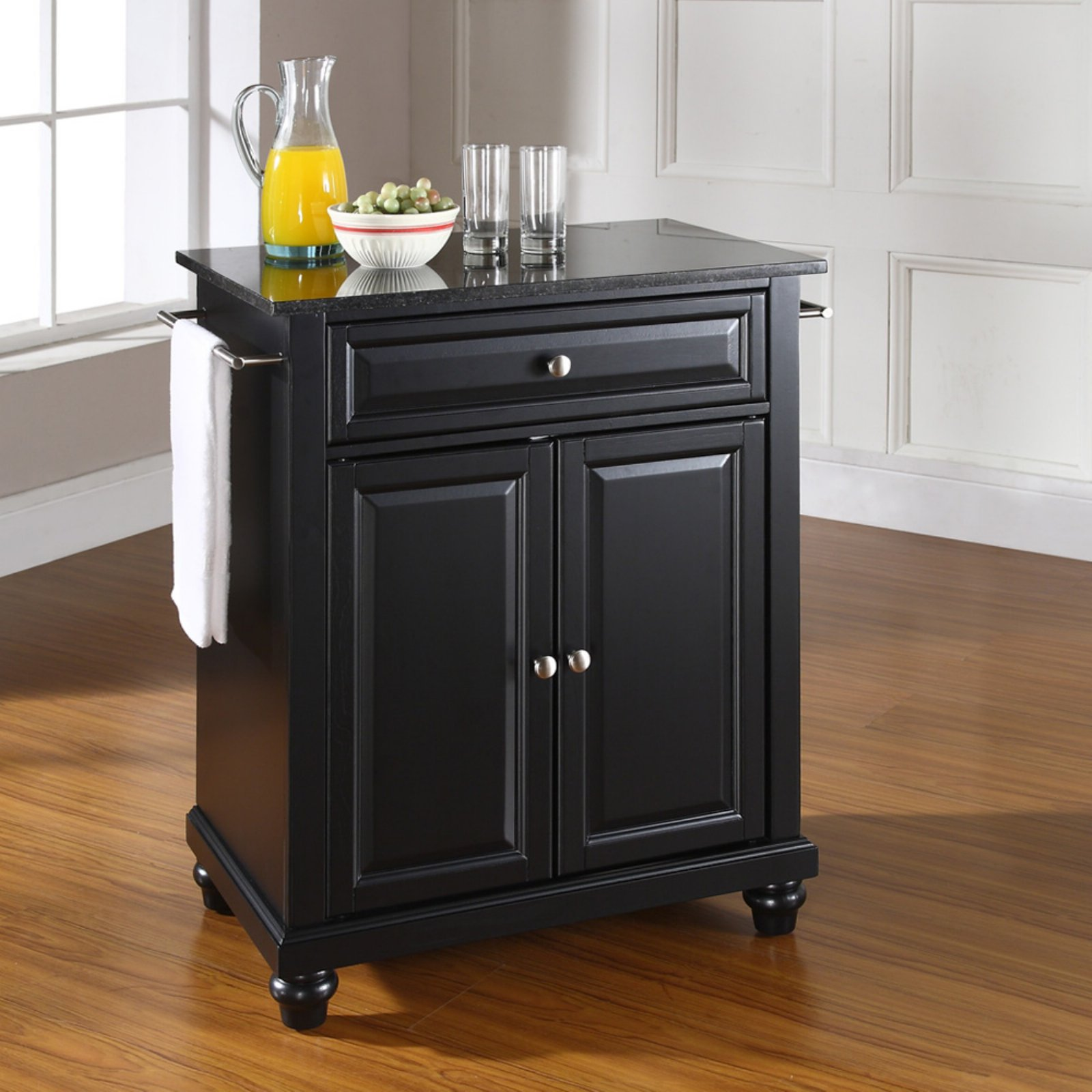 Kitchen Island With Black Granite Top | Crosley Furniture Cambridge Solid Black Granite Top Portable Kitchen