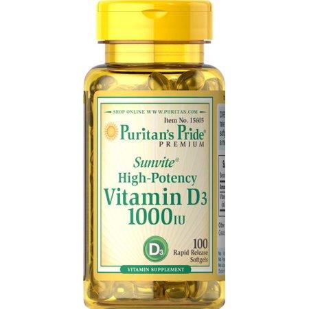 Puritans Pride Vitamin D3 1000 Iu 100 Softgels