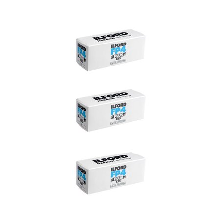3 Rolls Ilford FP4 Plus Black and White Film, 120 Size ISO 125