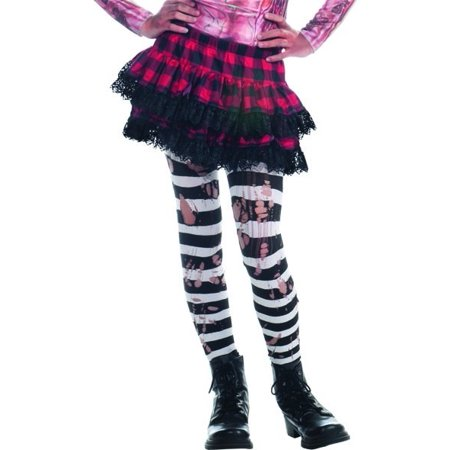 Zombie Ripped Black & White Striped Tights Costume Hosiery - Zombie Costumes For Children
