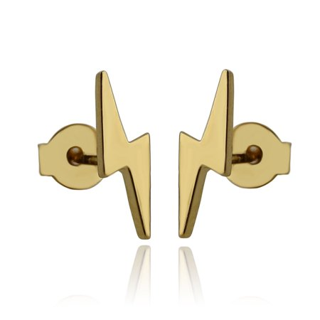 24k Stud (24k Gold Plated Brass Lightning Bolt Stud Earrings with Butterfly)