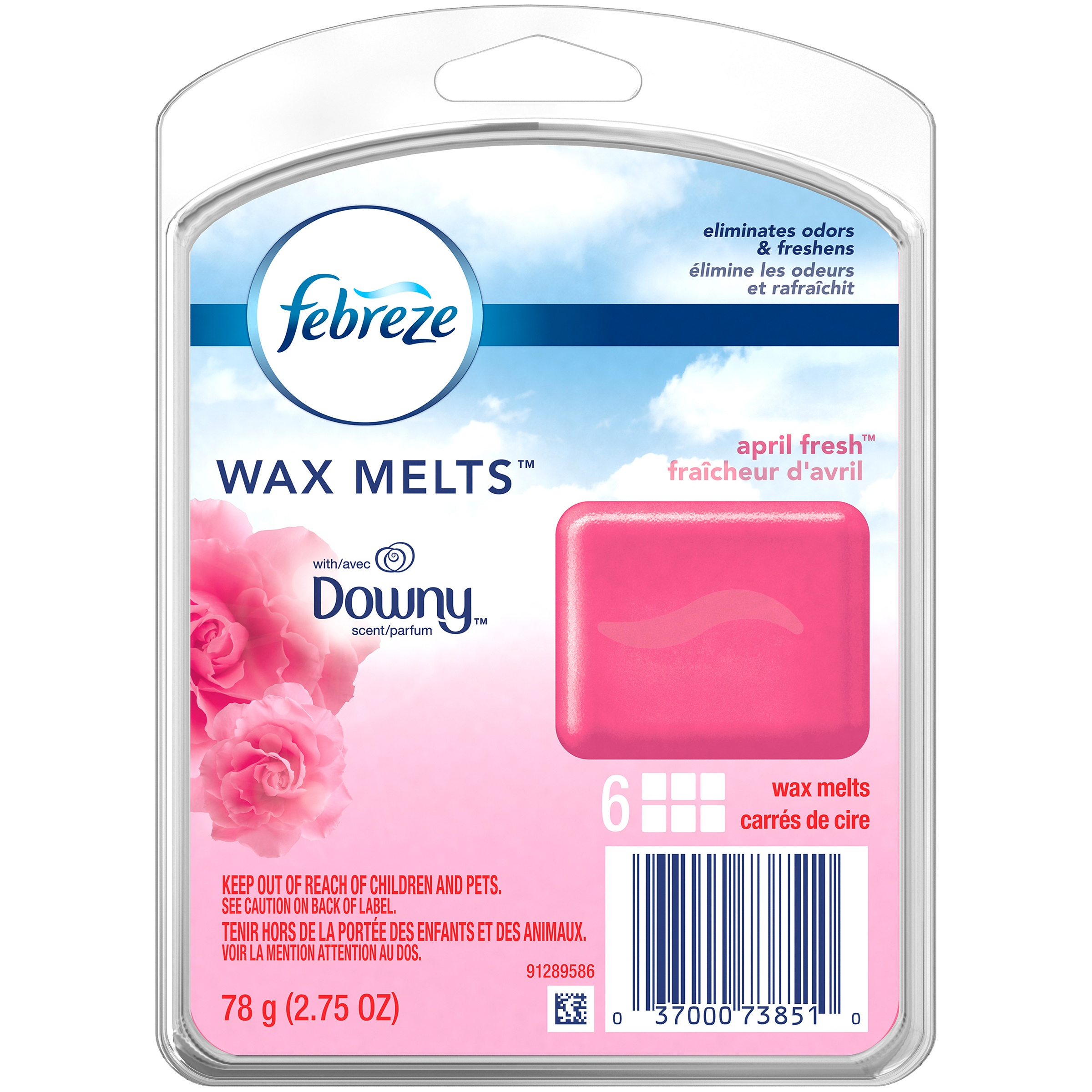 Febreze Wax Melts Air Freshener with Downy Scent, April Fresh, 6 wax melts, 2.75 oz