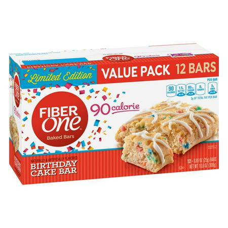 Fiber One 70 Calories Soft-Baked Bar, Birthday Cake, 12 Ct Value Pack, 10.6 Oz