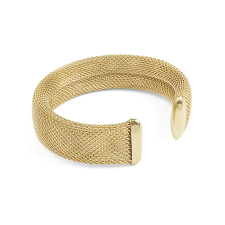 Polished Gold Plated Mesh Stainless Steel Cuff Bracelet (17mm) - 7.5""