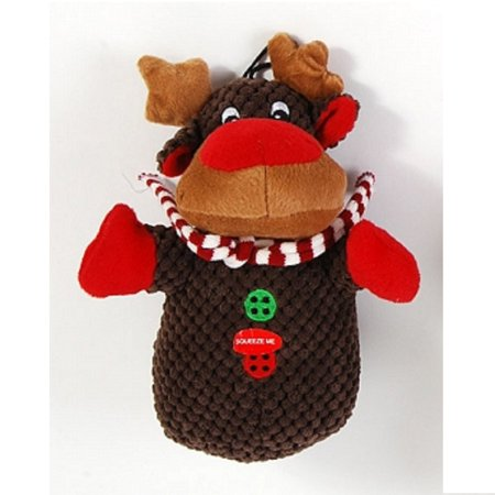 Reindeer Christmas Plush Pet Chew Toy with Squeaker Dog 8 Inch New - New Toys For Christmas
