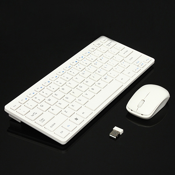 Ultra Thin 2.4GHz Wireless Keyboard + Cordless Mouse Combo Kit + Protective Cover for Desktop Laptop PC