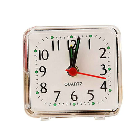 - Holiday Clearance Square Small Bed Alarm Clock Transparent Case Compact Travel Clock Mini Children Student Desk Watch