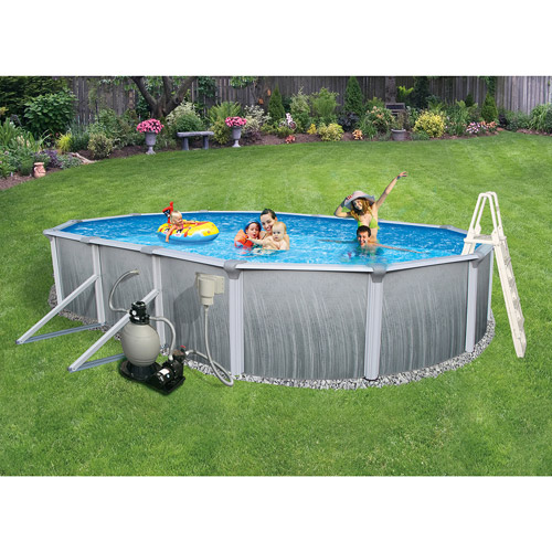 "Blue Wave Oval 33' x 18' x 52"" Deep Martinique 7"" Top Rail Metal-Walled Swimming Pool"