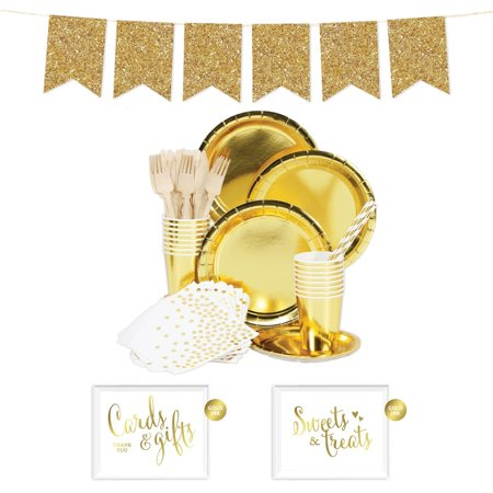 Koyal Wholesale Complete 70-Piece Gold Tableware Kit for 8 Guests, Solid Color Party Supplies, Birthday Party Supplies - Promo Code For Wholesale Party Supplies