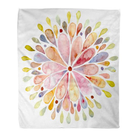SIDONKU Throw Blanket Warm Cozy Print Flannel Watercolor Flower Colorful Sun Painting Circle Comfortable Soft for Bed Sofa and Couch 50x60