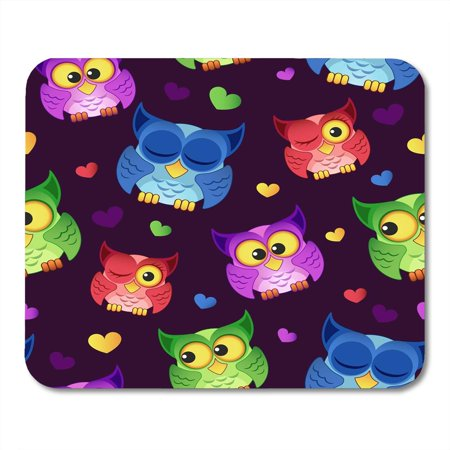 LADDKE Pink Smart Blue with Owls and Hearts Green Funny Teacher Mousepad Mouse Pad Mouse Mat 9x10 inch ()